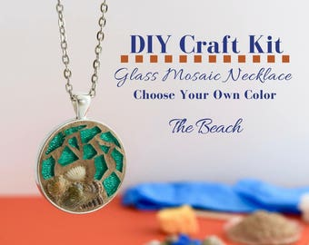 Complete Jewelry Making Kit, Beach Mosaic Glass Necklace Activity, Silver Bezel, Choose Your Own Beach Color Choices with sea shells