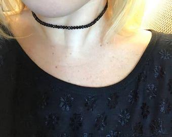 Black Glass Beaded Choker