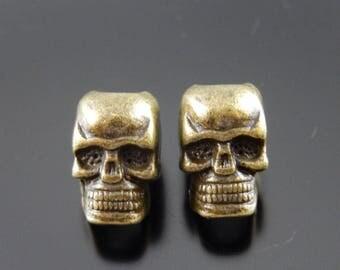 2 spacer beads form skull bronze