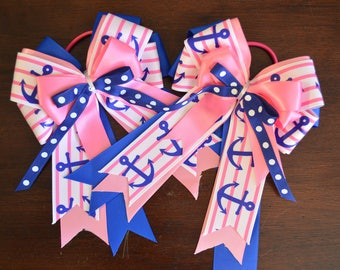 New pink and blue nautical horse show bows!