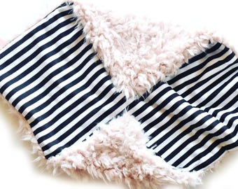 READY TO SHIP, Pink, minky lovey, Black and white Stripes Lovey, Baby Girl Lovey, Baby Blanket, Security Blanket, ballerina, baby lovey,