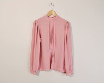 Vintage 80s Blouse, Puff Sleeve Blouse, Long Sleeve Top, Dusty Pink Blouse, Mandarin Collar Top, Loose Button Up, 80s Secretary Blouse