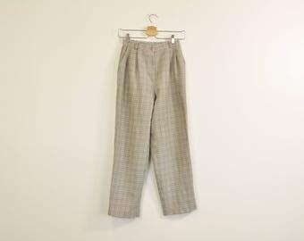 High Waist Trousers, Minimal Plaid Pants, Vintage 90s Trousers, Loose Pleated Trousers, Casual Pleated Pants, Women's Dress Pants Size 6