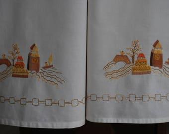 Tea Towels - Pair of Oriental Applique