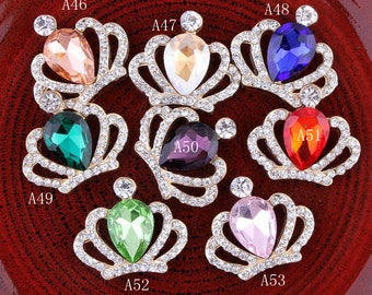 8colors Bling Glitter Metal Crown/Tiara Rhinestone Buttons for Kids Girls Hair Accessory Alloy Crystal Flatback Crown