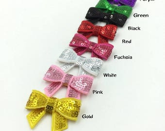 5cm DIY Shiny Sequin Bows Knot Without Clips Fashion Applique Headband Bows For Kids Girls Hair Accessories NO CLIP