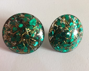 Large Vintage Confetti Lucite Clip On Earrings