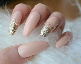 Nude #3 and gold press on nails| Any size or shape | Fake nails | glue on nails | False nails | Matte nails|Stiletto nails