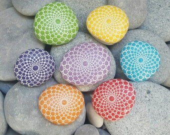 Chakra Mandala Stones Collection - Painted Stones -Hand-Painted Meditation Mandala Rocks - Home Decor - Mandala Art - Boho - Rock Art