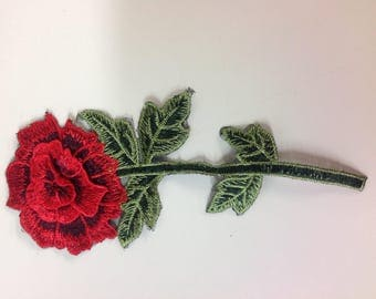Small red rose embroidered appliqué