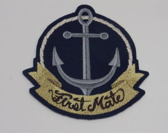 Nautical Iron-On Patch. Embroidered Patch. Sew-on Patch. Glue-on Patch. First Mate Patch