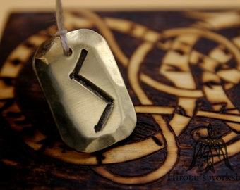 SOWILO brass rune pendant