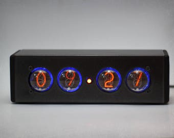 IN-4 Nixie Tube Clock - Nixie Clock with adapter and aluminium enclosure