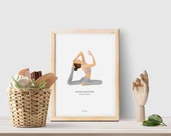 Yoga poster, Yoga illustration, Yoga print, Yoga printable, Yoga pose print, Yoga studio decor, Yoga studio art, Yoga room decor, Yoga art