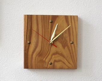 Decorative Wooden Clocks, Small Clock, Unique Clocks, Wooden Non Ticking Silent Clock Yellow, Housewarming Gift for Him, Home Wall Decor