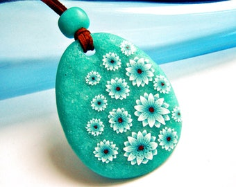 Polymer clay necklace: Polymer clay pendant, Green turquoise flower pendant, Gift women, Gift for her