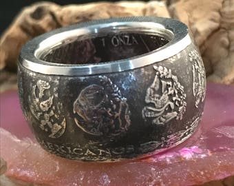 Mexican Libertad Silver Coin Ring