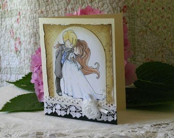 Beautiful Hand Colored Wedding Card