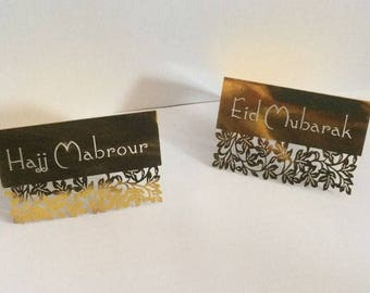 Eid Mubarak Hajj mabrour Umrah table decor party celebrate place cards note cards Islamic.