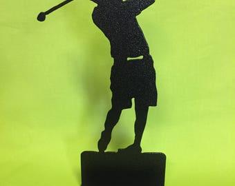 Golfer Desktop Business Card Holder