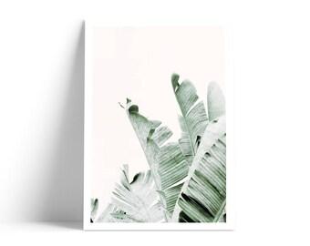 Tropical Print, Banana Leaves Print, Green Leaves Print, Palm Leaf Printable, Palm Tree Print, Banana Leaf Art, Tropical Wall Art