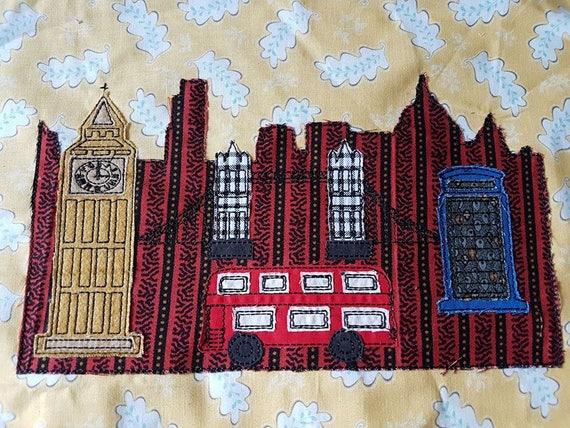 London scene raw edge applique machine embroidery