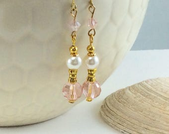 Downton Abbey Pink Czech Crystal Antiqued Gold  Drop/Dangle Earrings with 18kt gold plate wires