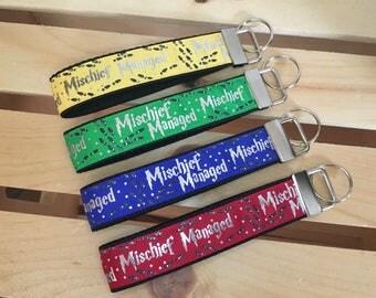 Harry Potter inspired Mischief Managed key fobs. Handmade key fobs. Wristlet Key Fob.