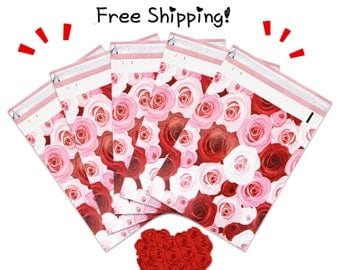 """FREE SHIPPING! (25-400 Pack) 10x13"""" Roses Designer Poly Mailers"""