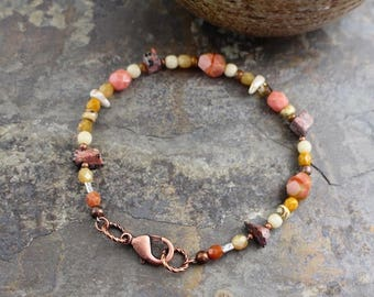 NEW Viking inspired bracelet, natural stone,jasper chips, matubo beads, Czech glass beads, copper lobster clasp,B164