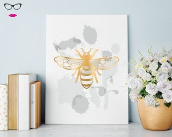 Bee PRINT with watercolour style background Manchester Bee - real foil wall art, quote print, typography, custom quote design