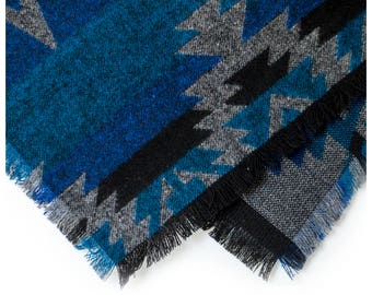 Tribal River Frayed Flannel Bandana