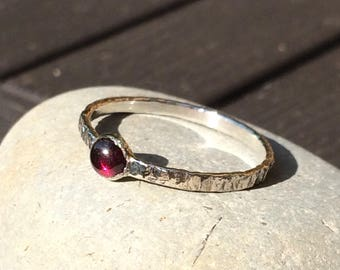 Rustic hammered ring with semi precious gem stone