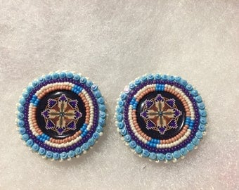 Purple Eagle Feather Earrings