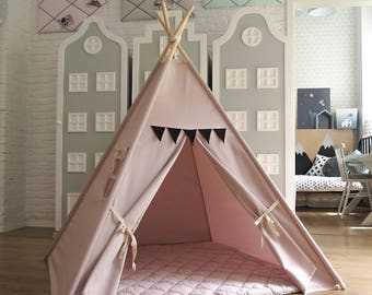 light pink teepee tipi tent with black pennants playtent play ready to ship kids wigwam children birthday gift halloween bday child room