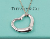 """MINT Tiffany & Co. Large 27mm Elsa Peretti Open Heart 18"""" Silver Pendant Necklace // 925 Sterling Silver // With T and Co Box"""