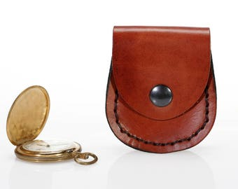 Leather pocket watch holder