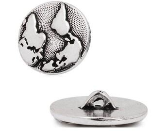 earth globe world Silver (D09) button charm