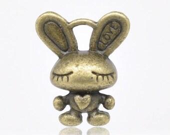 SET of 5 charm Bunny bronze (R24)