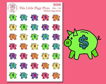 Piggy Banks Planner Stickers - Piggy Bank Stickers - Planner Stickers - Piggy Banks - Budget Stickers - Pay Day - No Spend - [Misc 1-29]