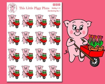 Gardening Oinkers - Gardening Planner Stickers - Plant Flowers Stickers - Spring Activities - Flowers - Pig- Garden - Hobbies - [Hobby 1-11]
