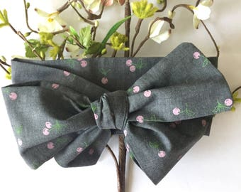 Cherry on top headwrap baby kid tie head wrap big bow headband pink blue green summer fashion clothes style accessories