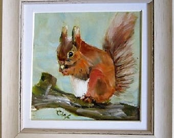 Original Oil Painting~Nature animals ~Red Squirrel~ Signed & Framed