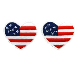 USA Flag Patch American Flag Patch Heart Shape Patches Applique Embroidered Iron on Patch