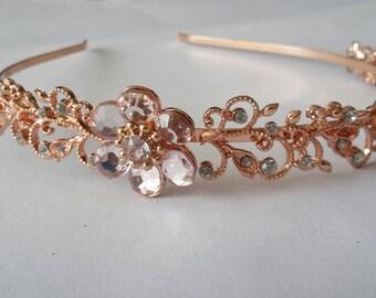 Rose gold tone swirl diamanté flower bridal wedding hairpiece. Boho, bridesmaid, bride, nature, simple.