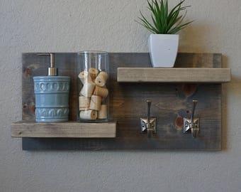 Modern Rustic 2 Tier Bathroom Shelf