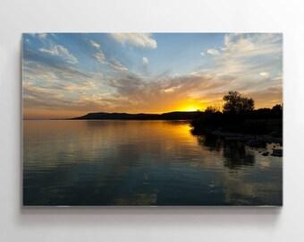 Large Wall Art Lake Landscape at Sunset Canvas Print