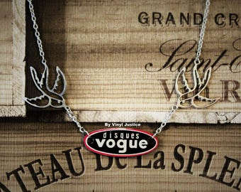 French Disques Vogue label, handcut from pre loved vinyl record necklace with swallows.
