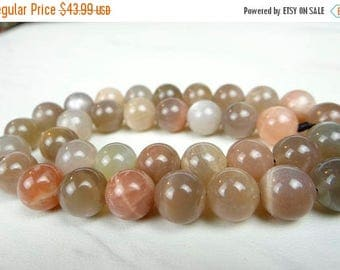 75% Off Sale---- Multi moonstone smooth round beads/10mm/7.5 inch strand