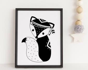 Fox print, Tribal print, Tribal fox print, Woodland nursery, Woodland fox, Monochrome print, Black and white print, Tribal wall art, Animals